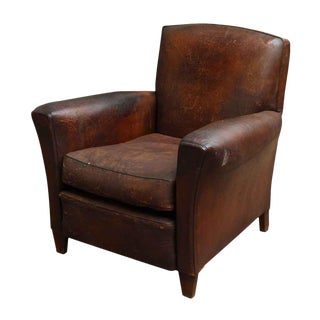 French Distressed Leather Club Chair