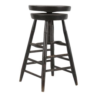 RARE SWIVELING WINDSOR STOOL IN BLACK PAINT, CA 1820-1840