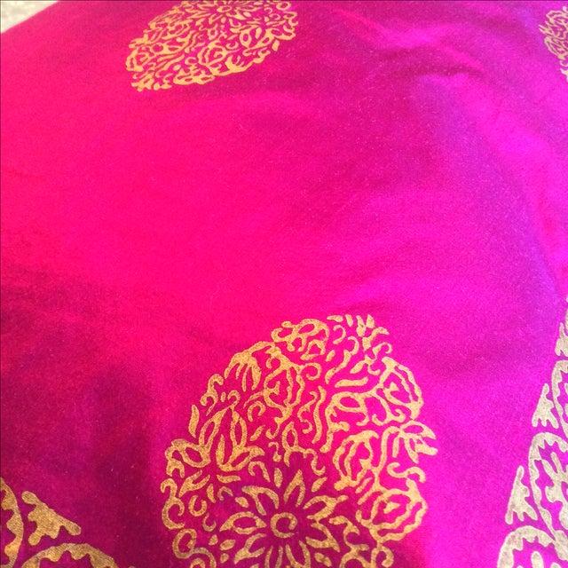 Silk Magenta & Gold Block Print Pillows - A Pair - Image 4 of 5