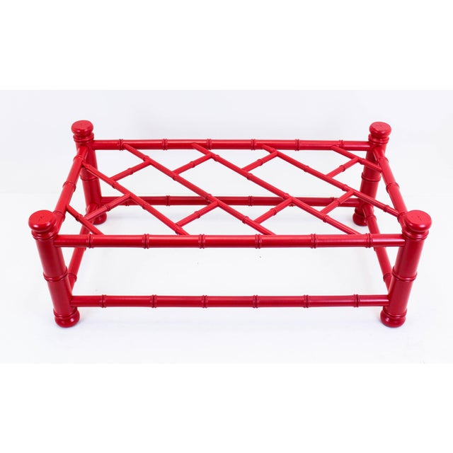 Palm Beach Style Coral Red Coffee Table - Image 7 of 9