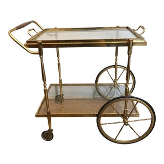 Vintage Brass & Glass Bar/Tea Cart Removable Tray
