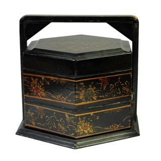 Chinese Black Leather Hexagon Multi Tray Traditional Wedding Basket Candy Box