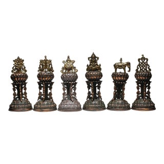 Early 20th Century Bronze Plated Temple Bells, circa 1920-1940 - Set of 6