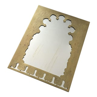 Vintage Moroccan Brass Engraved Mirror