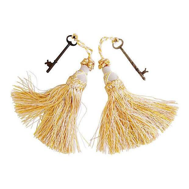 Antique Skeleton Keys with Ivory Tassels - Pair - Image 1 of 3