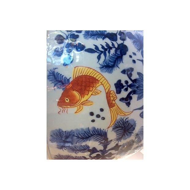 Blue & White Jardinière with Goldfish - Image 4 of 5
