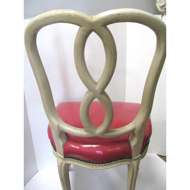 Italian Painted & Pink Leather Chairs - A Pair - Image 8 of 10