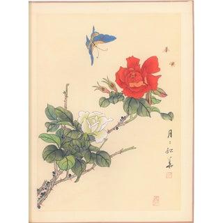 Mid-Century Chinese Rose Botanical on silk