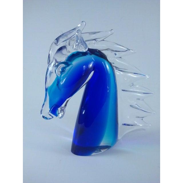 Murano Glass Horse Head Cobalt Italian - Image 2 of 7