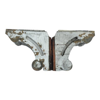 Weathered White Wooden Corbels - A Pair