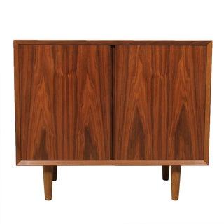 Compact Walnut Media Bar Storage Cabinet