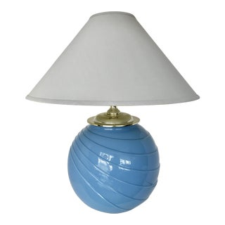 Art Deco Sky Blue Glass Table Lamp