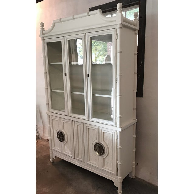 Chinoiserie Faux Bamboo Painted China Cabinet - Image 6 of 10