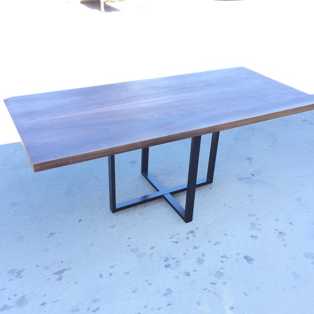 Contemporary Hardwood Table & Cube Base - Image 2 of 6