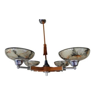 Swedish Mid-Century Modern Four Arm Hanging Fixture in Wood, Chrome and Glass ca 1950