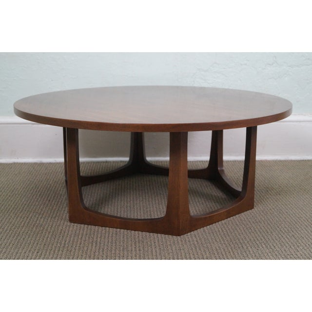 Image of Mid-Century Modern Round Walnut Coffee Table