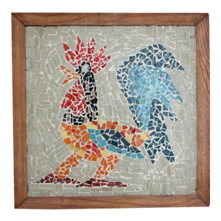 Colorful Tiled Rooster Wall Art
