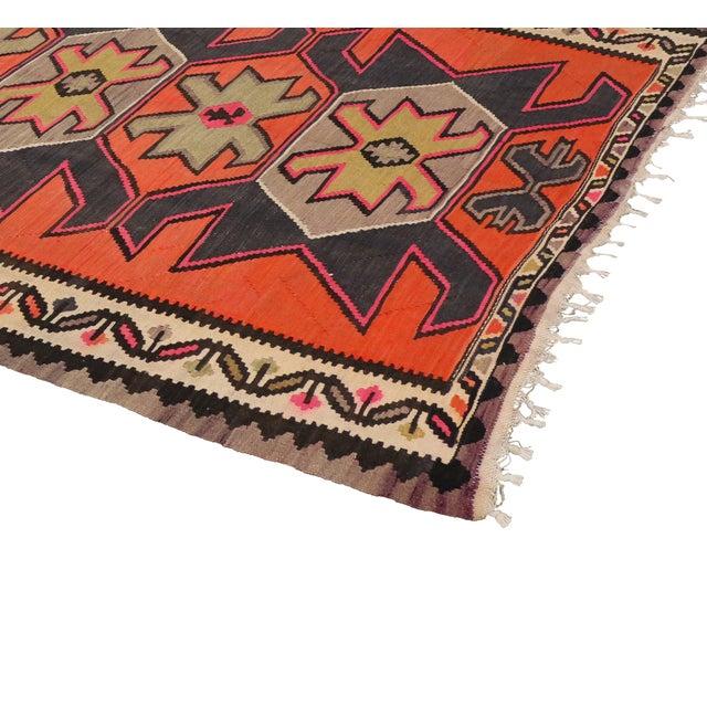 "Vintage Persian Shiraz Tribal Kilim Rug With Boho Chic Style - 5' 2"" X 8' 7"" - Image 4 of 5"