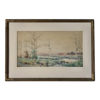 Antique Watercolor Landscape by William G. Russell
