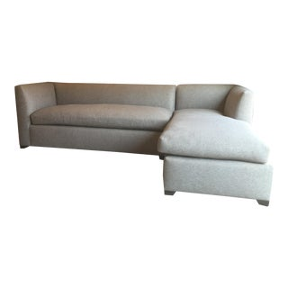 Beverly Sectional in Grey Blue Herringbone Linen, Robert Allen