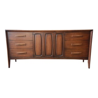 Broyhill Emphasis Mid-Century Modern Sculpted Walnut Credenza or Triple Dresser