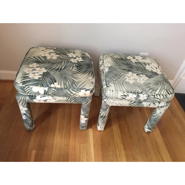 Parsons Stools With Palm Leaf Fabric - A Pair - Image 5 of 11