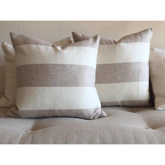 Italian Eco-Friendly Stripes Wool Pillow - Image 3 of 4