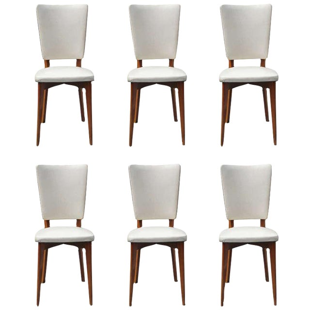 Vintage French Art Deco Mahogany Dining Chairs - Set of 6 - Image 1 of 7