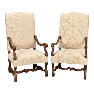 French Os De Mouton Large Armchairs - Pair