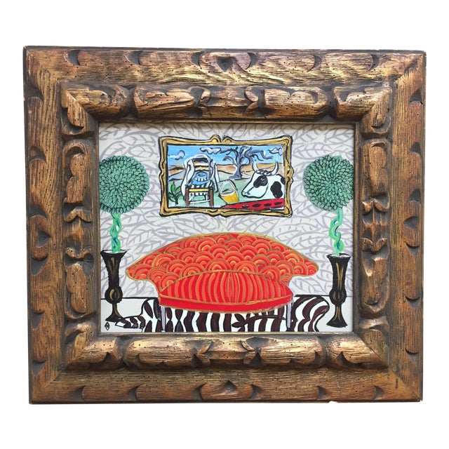 Original Whimsical Interior by Judy Henn LegerCow - Image 1 of 5