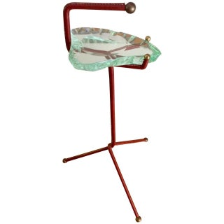 Smoking Stand With Fontana Arte Glass Ashtray