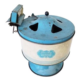 Vintage Tin Sunny Suzy Washing Machine Playset, 1930s
