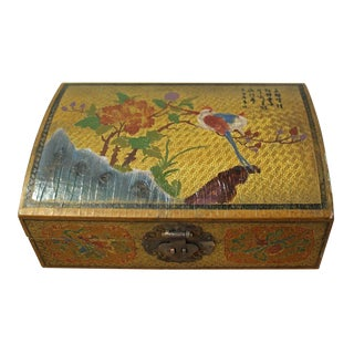 Chinese Golden Yellow Flower Birds Graphic Box