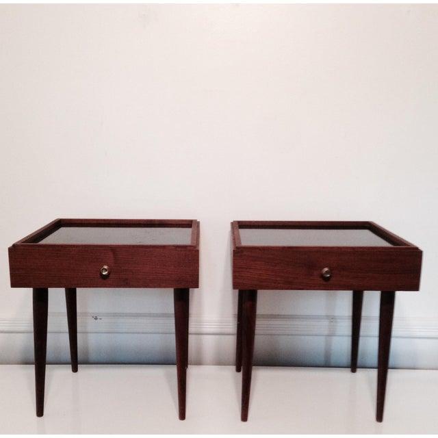 Image of Mark Adam Mid-Century Walnut Folding Tables - Pair
