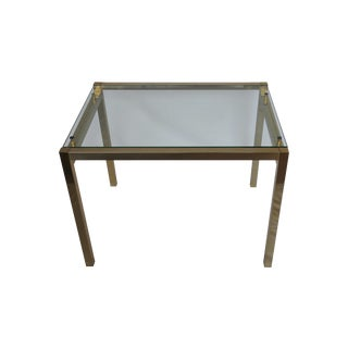 Milo Baughman Style Brass and Glass Cocktail Table