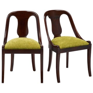 Solid Mahogany French Empire Gondola Chairs - Pair