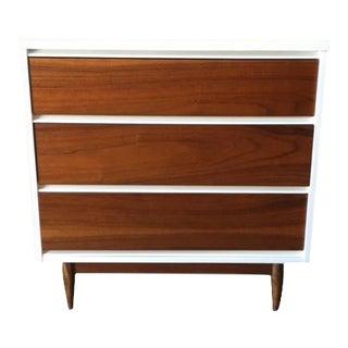 Mid Century 3 Drawer White Lacquer Walnut Chest Dresser