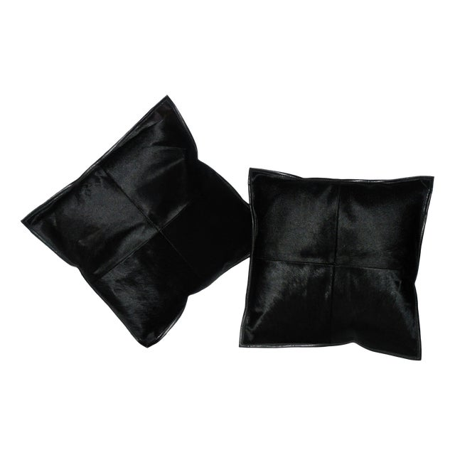 Black Calf Hide & Leather Pillows - a Pair - Image 1 of 6