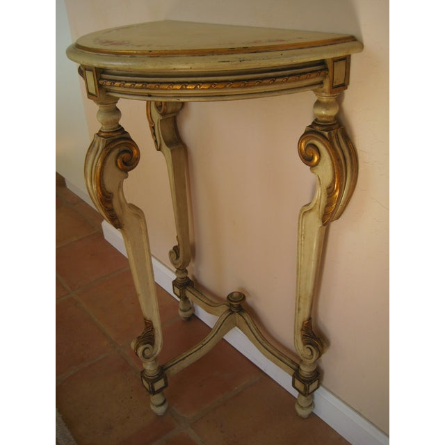 Painted Demilune Side Tables Lamp Tables - Pair - Image 8 of 11