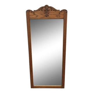 Vintage Vertical Oak Wall Mirror