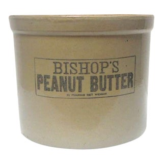 "Large 19th Century ""Bishops Peanut Butter"" Crock with Lid"