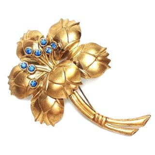 Sterling & Blue Rhinestone Flower Brooch