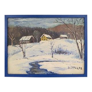 1940s Winter Landscape Original Oil Painting on Canvas
