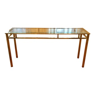 Mastercraft Brass Console With Glass Top