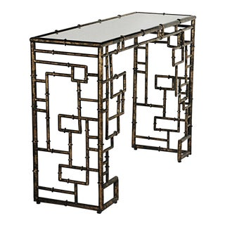 Hollywood Regency Style Faux Bamboo Console Table