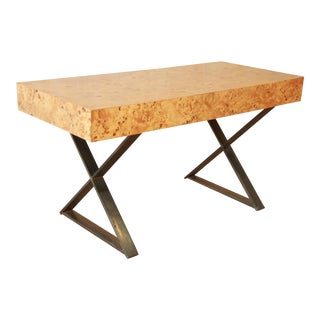 Milo Baughman Burled Olive Wood Campaign Desk
