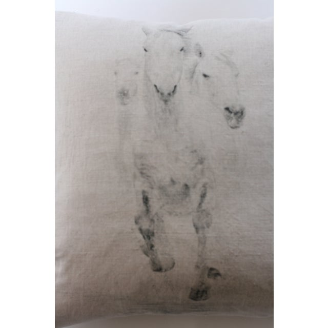 Horse Trio Print Linen Pillow - Image 2 of 2