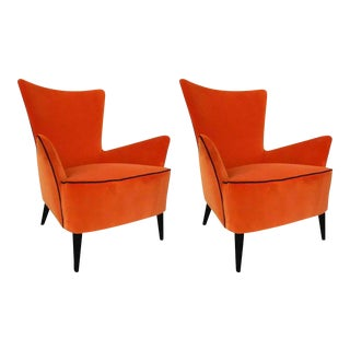 Pair of comfortable Italian mid century reupholstered armchairs