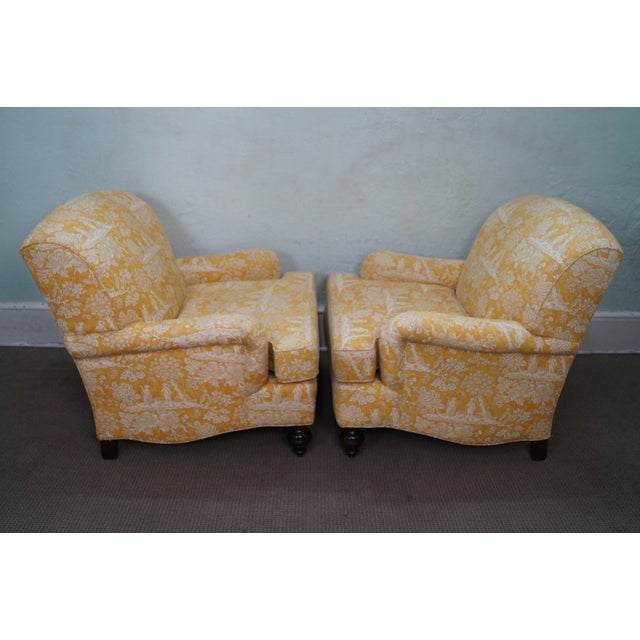 Image of Pierre Deux Toile Upholstery Bergere Chairs - Pair