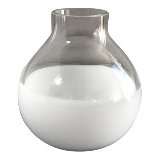 Modern Milk Glass & Clear Glass Vase